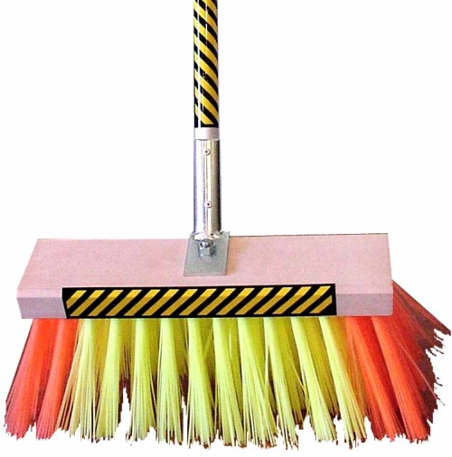 BROWNS HI VIZ POLY FILL TRADE  BROOM 35mm c/w HANDLE