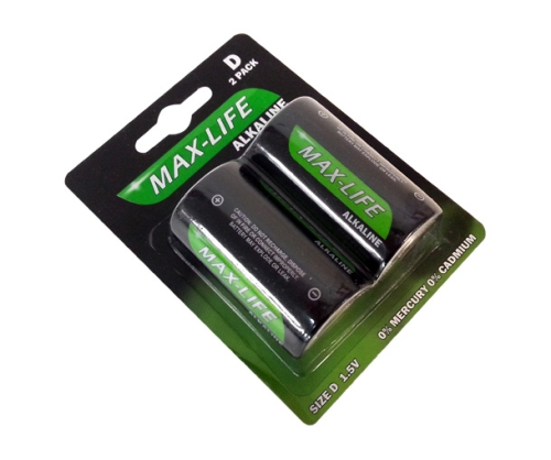 MAXLIFE ALKALINE BATTERY D 2pk