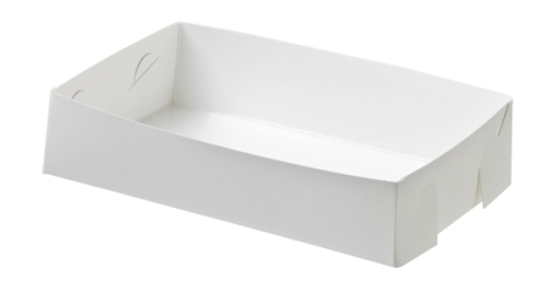 FOLDED OPEN FOODTRAY PLAIN WHITE LARGE 200