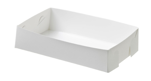 FOLDED OPEN FOODTRAY PLAIN WHITE MEDIUM 200