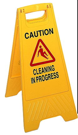 "SAFETY  SIGN ""CAUTION - CLEANING  IN PROGRESS"" YELLOW"