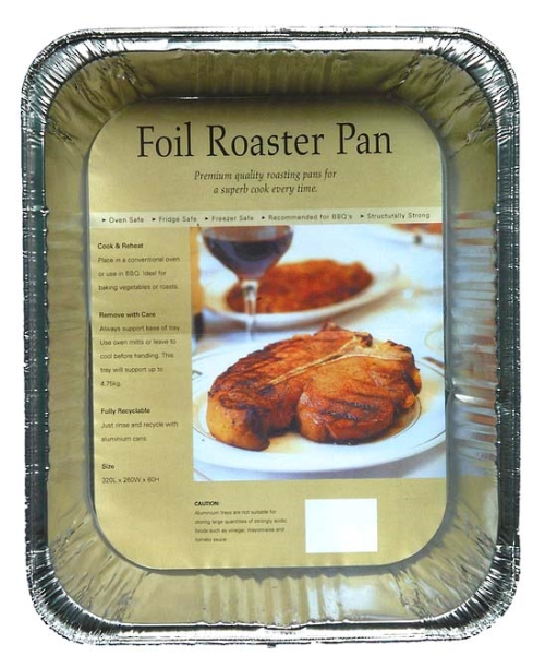 FOIL ROASTER TRAY 325x265x60mm EA