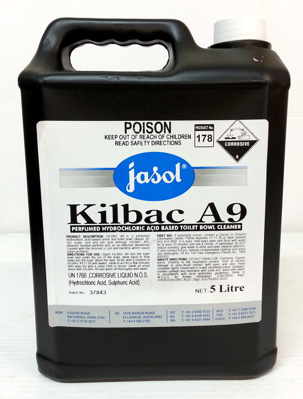 KILBAC A9 ACID BASED TOILET CLEANER 5Ltr DGLQ