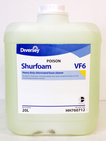 SHURFOAM CHLORINATED ALKALI SANITISER 20L DG **NON**