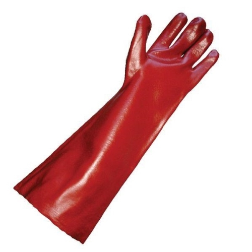 PVC GAUNTLET GLOVES RED 45cm CUFF