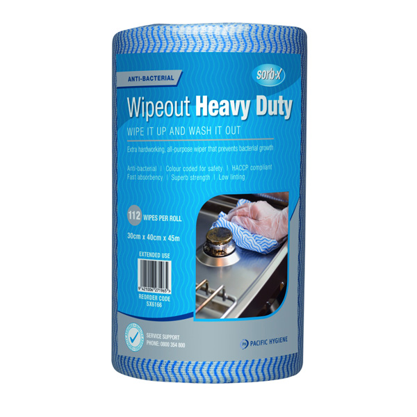 PH WIPEOUT HEAVY DUTY ANTIBAC WIPES BLUE 112roll