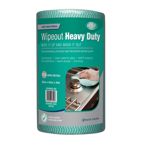 PH WIPEOUT HEAVY DUTY ANTIBAC WIPES GREEN 112roll