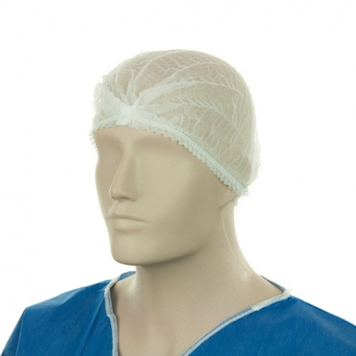 "DISPOSABLE WHITE CRIMPED CAP 21""/ 54cm 100pack"