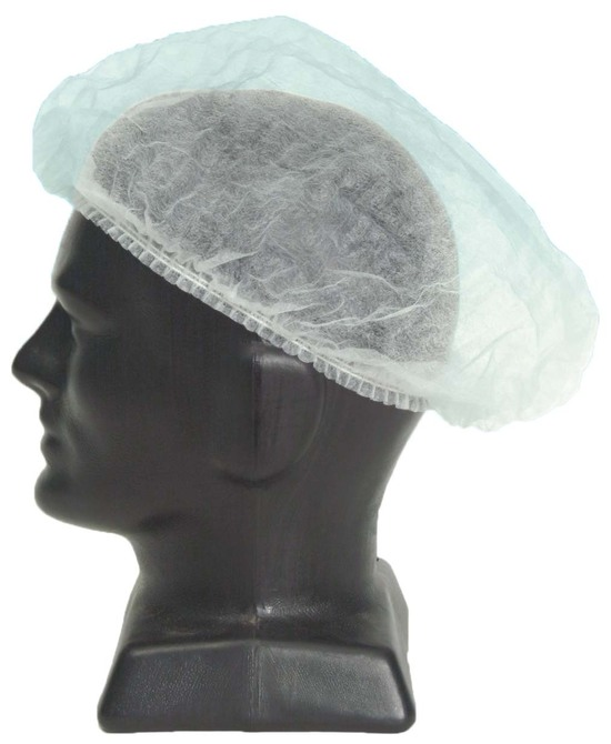DISPOSABLE WHITE BOUFFANT CAP LARGE 61cm 1000ctn