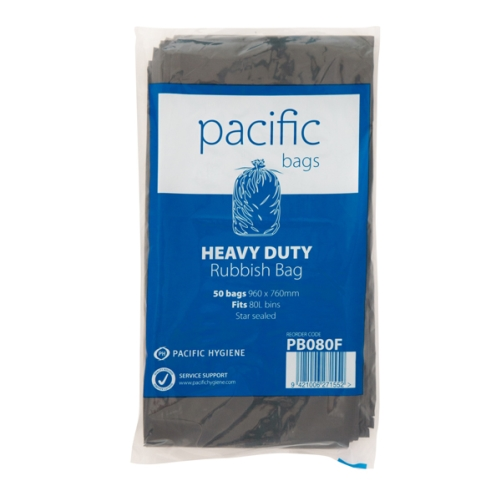 PH BLACK RUBBISH BAG 80L 960x760mm 50pk