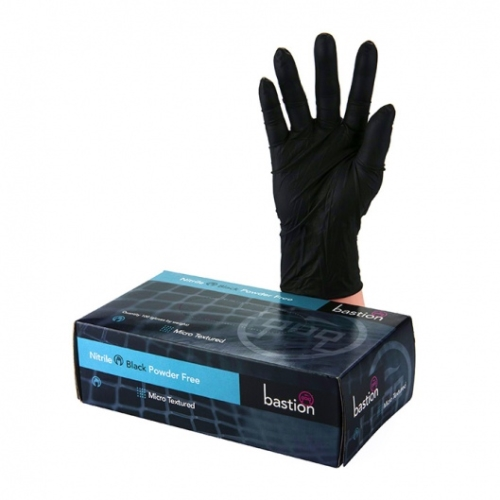 BASTION BLACK NITRILE POWDER FREE GLOVES MEDIUM 100pk