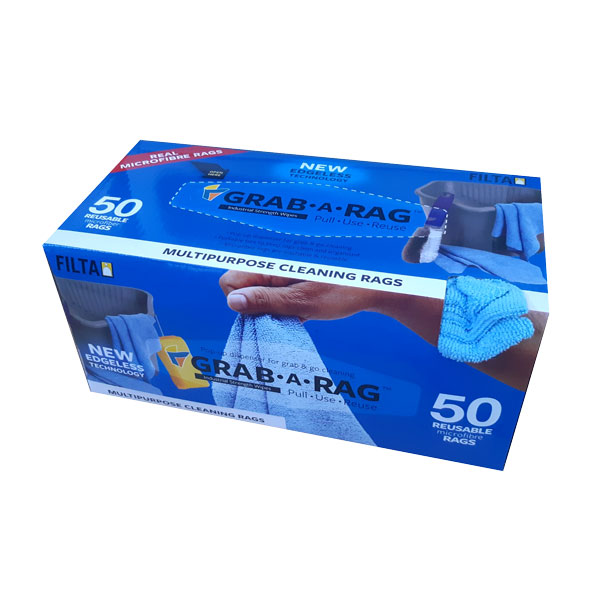 FILTA GRAB-A-RAG MICROFIBRE CLOTHS BLUE 50box