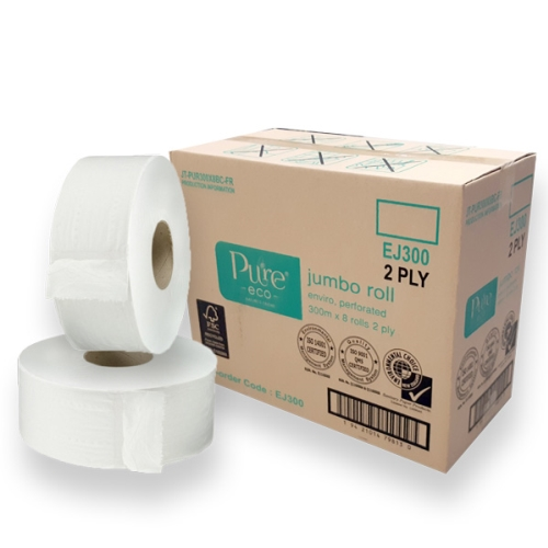 PURE ECO RECYCLED JUMBO ROLL 2ply 300m X 8rolls FSC/ECNZ