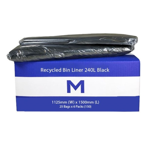 M-SERIES 240Ltr BIN LINER 1125x1500mm 30mu BLACK 150ctn
