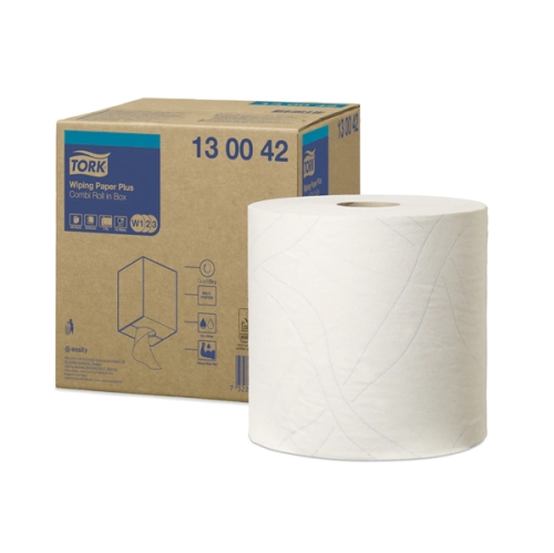 TORK WIPING PAPER PLUS 2Ply 750w COMBI ROLL W1,2,3