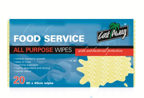 CASTAWAY ALL PURPOSE WIPES YELLOW 20pack
